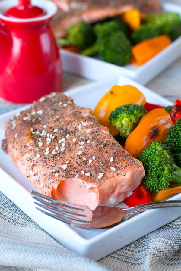 Garlic Sesame Broiled Salmon with Roasted Broccoli and Sweet Peppers