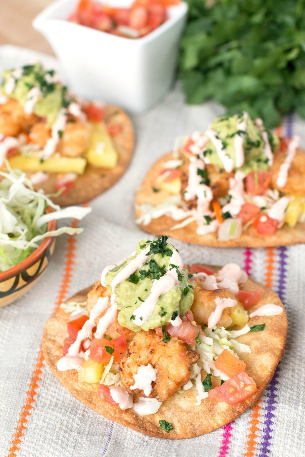Bang Bang Shrimp Tacos Recipe on a colorful napkin