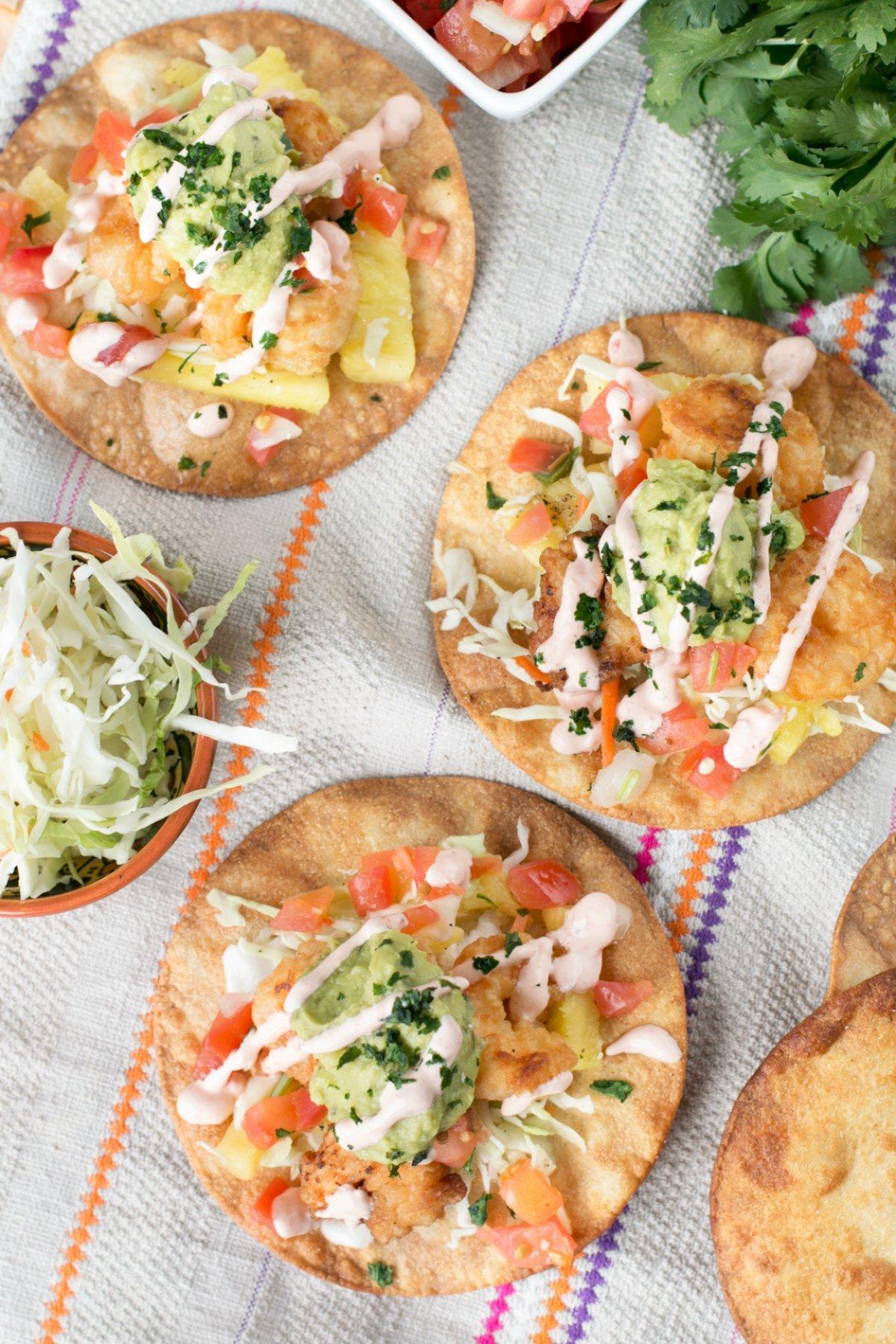 Overhead picture of bang bang shrimp taco recipe