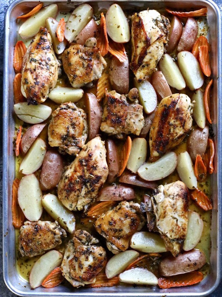 Cilantro Lemon Chicken on a sheet pan