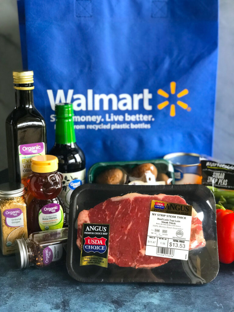 Asian Pepper Steak Stir Fry ingredients in front of a Walmart bag