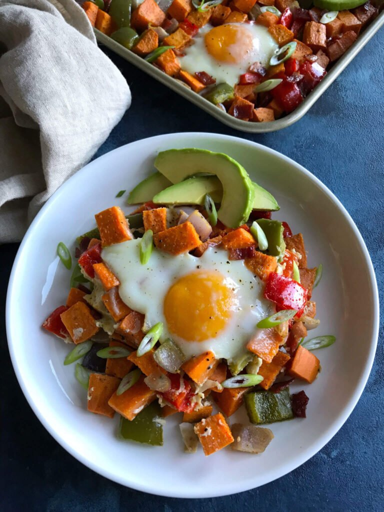 A plate with sweet potatoes, eggs, and avocados