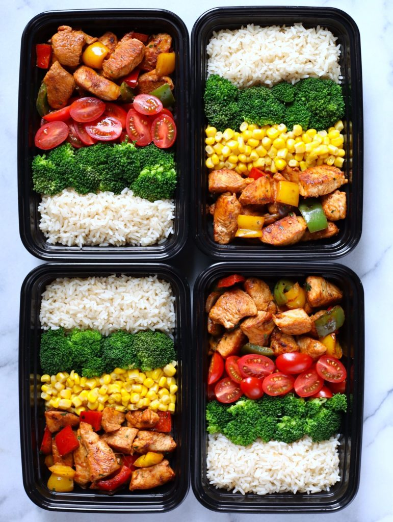 Chicken Fajita in lunch meal prep boxes