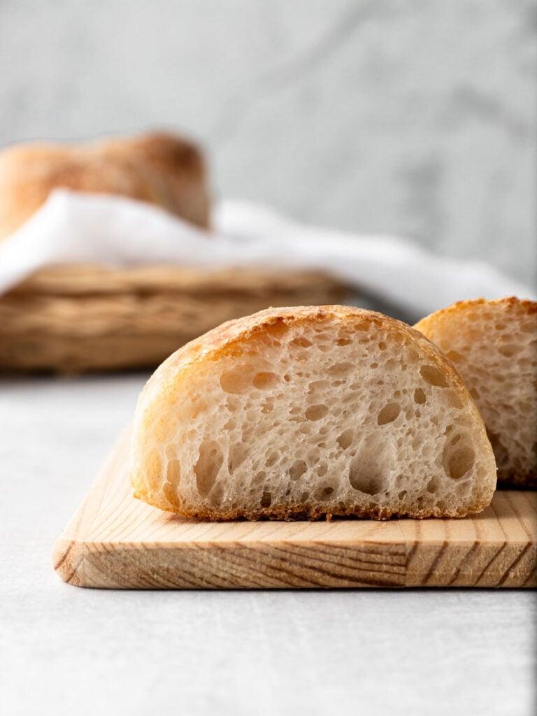 Crumb shot of homemade ciabatta bread.