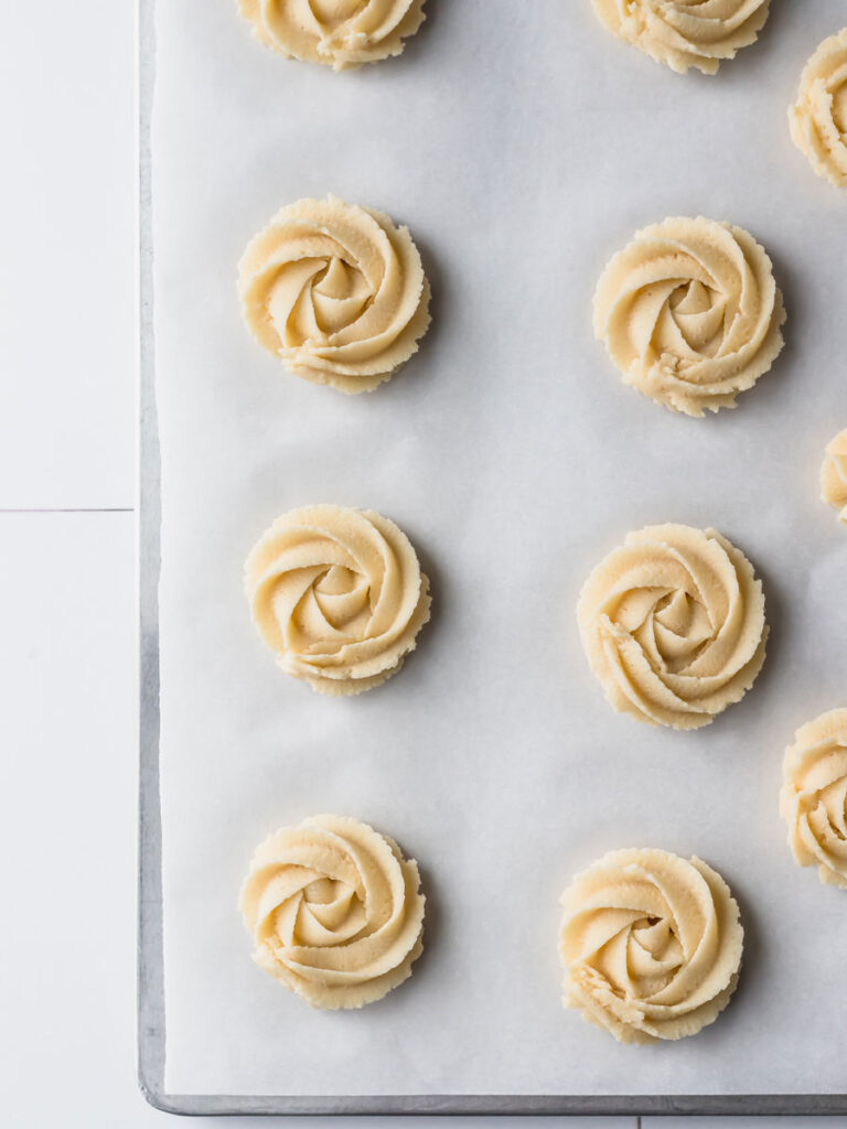 Rows of danish butter cookies before baking.
