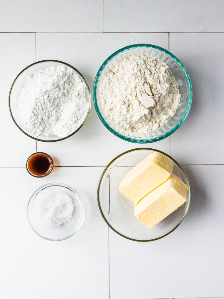 Top down view of ingredients for butter cookies.