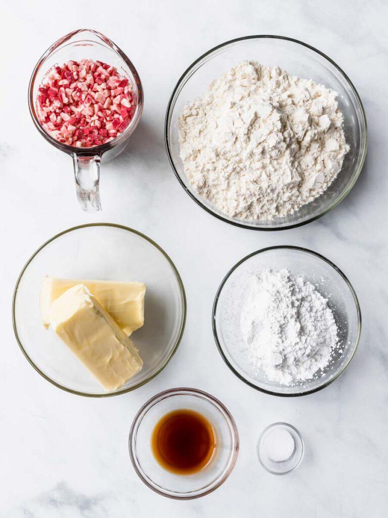 Top down view of easy shortbread ingredients.