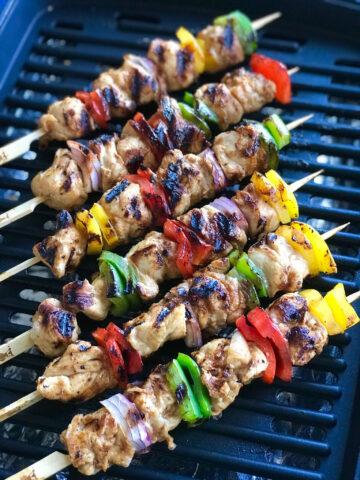 Spicy Mango Habanero Chicken Kabob on a grill.