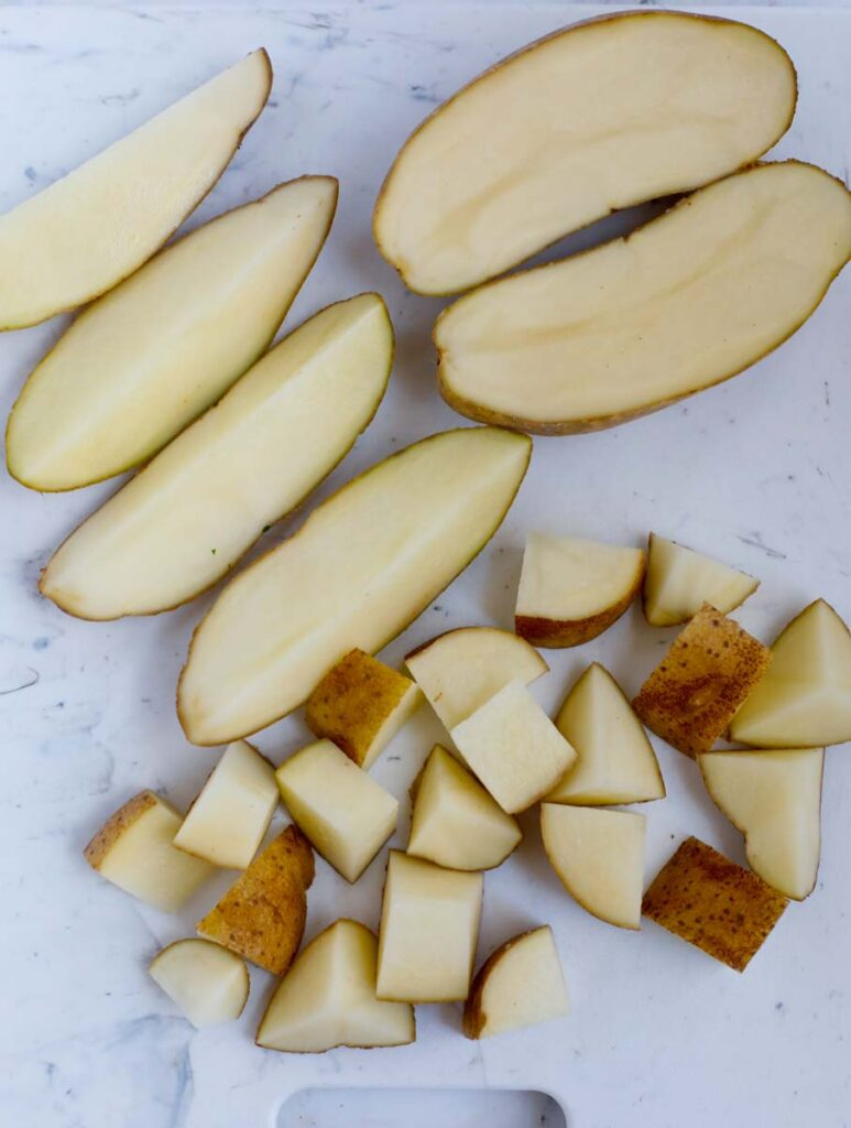 How to cut up potatoes to be cooked.