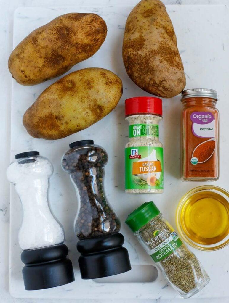Ingredients needed to make crispy air fryer potatoes.