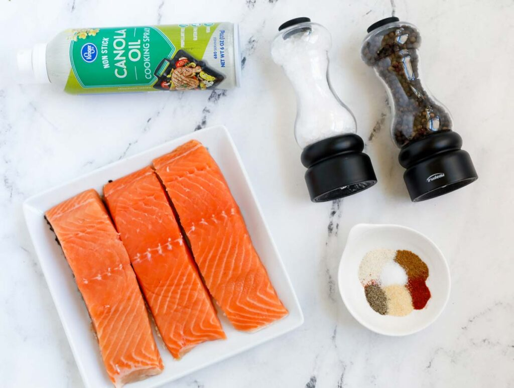 TOp down shot of air fryer salmon ingredients.