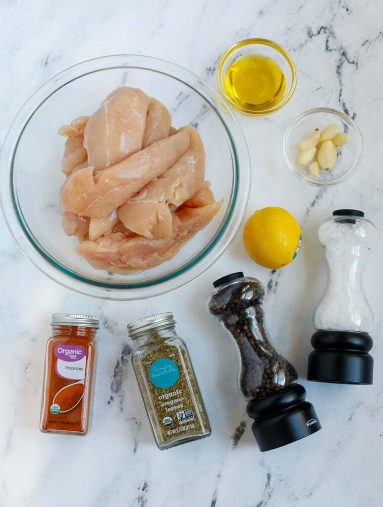 Top down view of ingredients for air fryer lemon pepper chicken recipe.