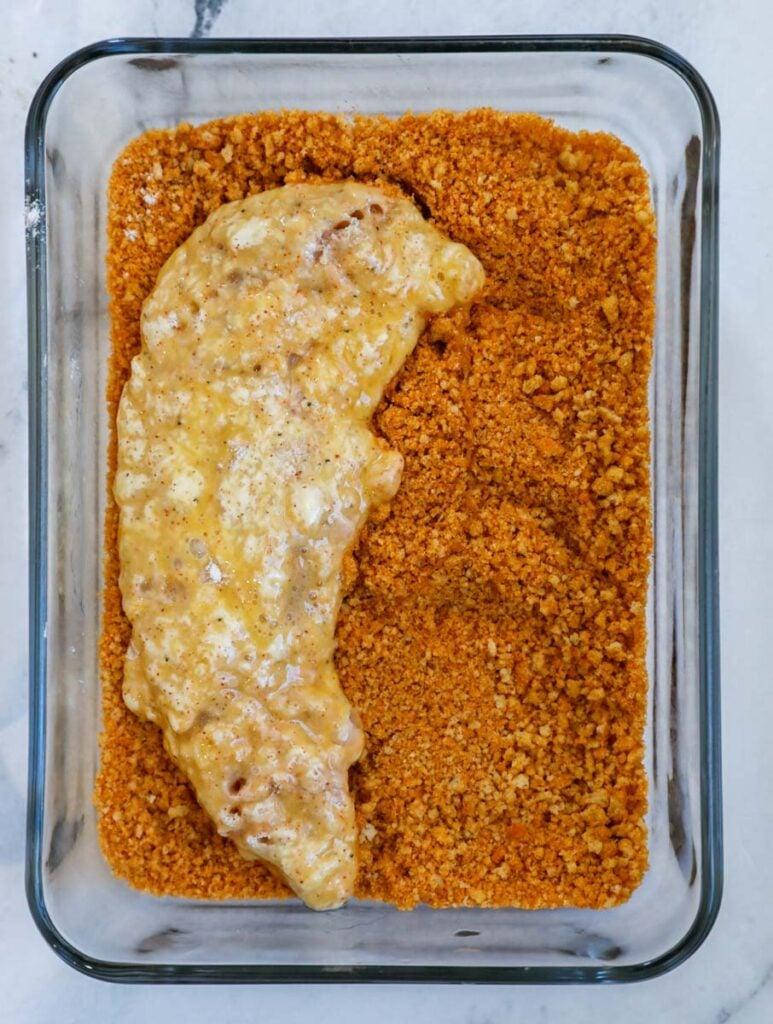 Chicken coated in seasoning mix.