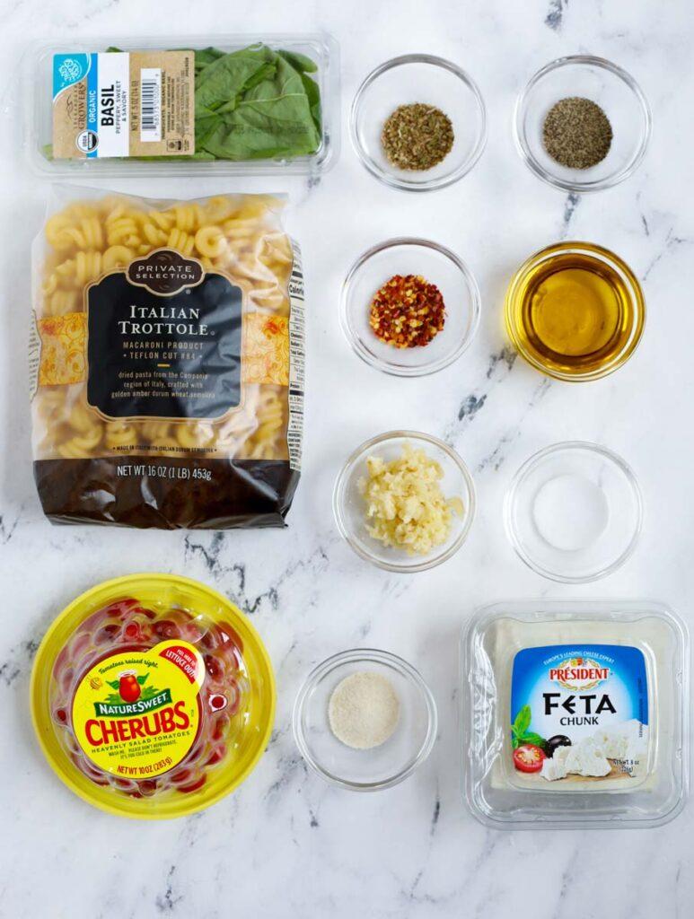 Ingredients needed for a baked feta pasta.