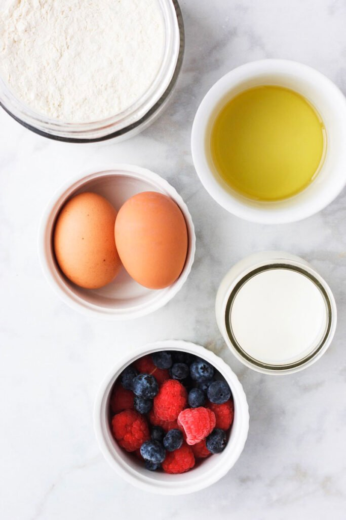 Ingredients needed for the best crepe recipe.