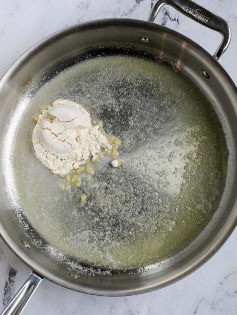 Butter and flour in a skillet.