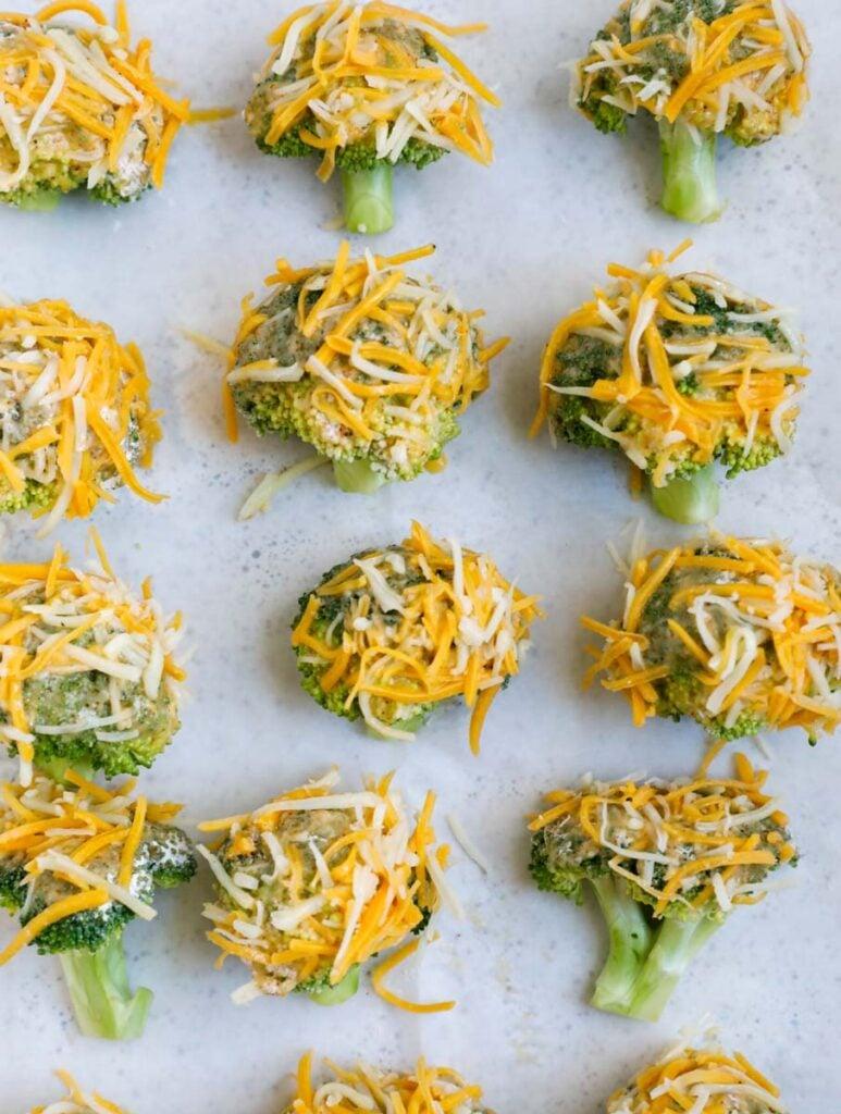 Broccoli on a baking tray.