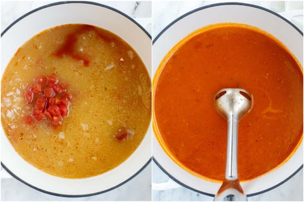 A set of two photos of soup being simmers and blended up.