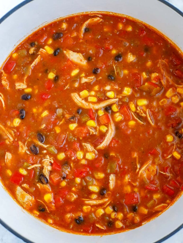 A pot of completed enchilada soup.