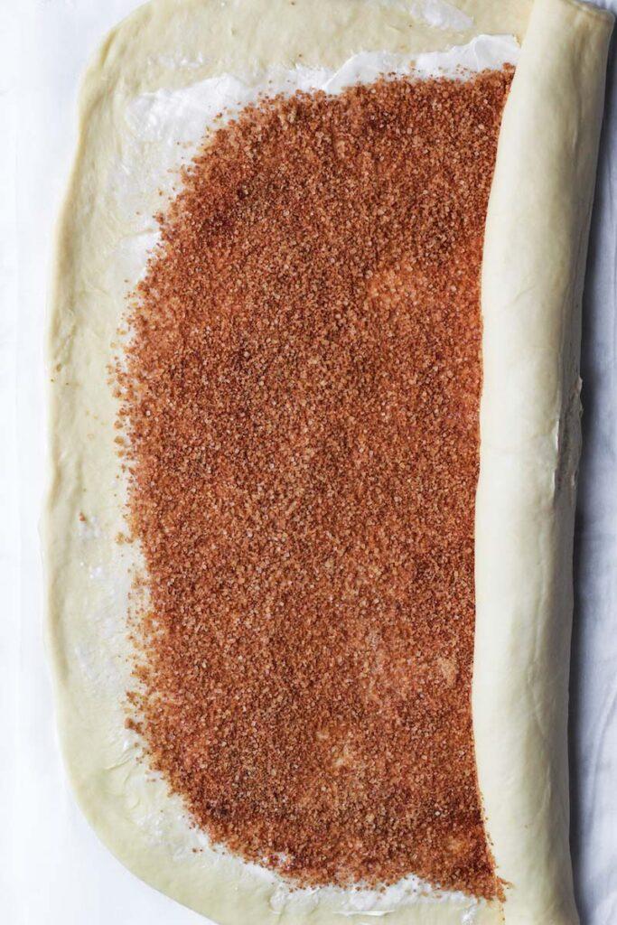 cinnamon sugar spread on the babka dough and rolled