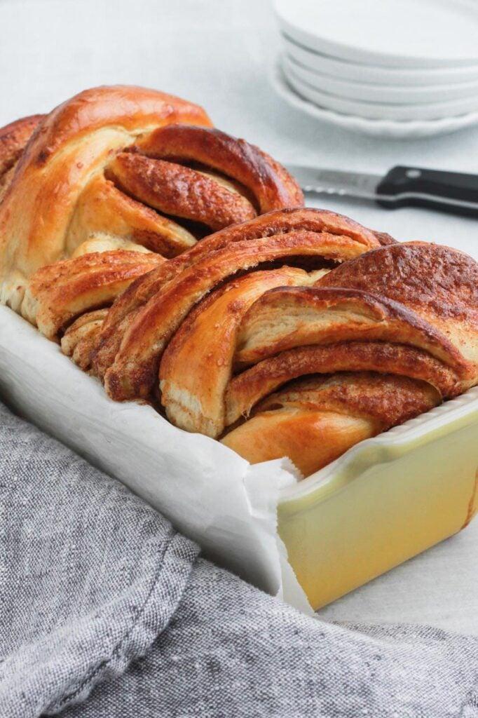 Cinnamon Babka in a loaf pan