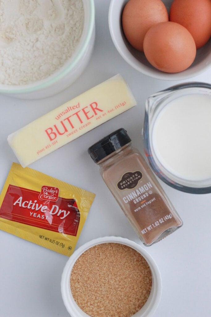 Ingredients needed for cinnamon babka