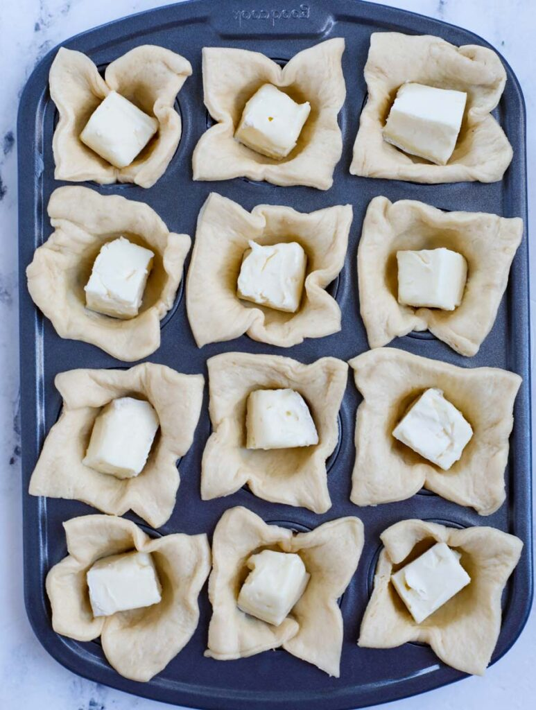 Cubed brie in puff pastry.