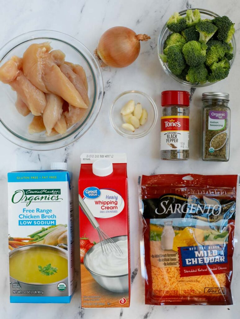 Top down shot of ingredients for creamy broccoli chicken.