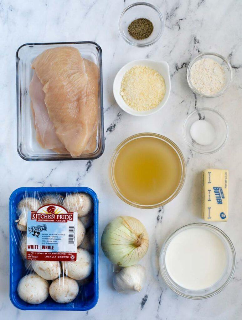 Top down shot of ingredients forcreamy mushroom chicken.