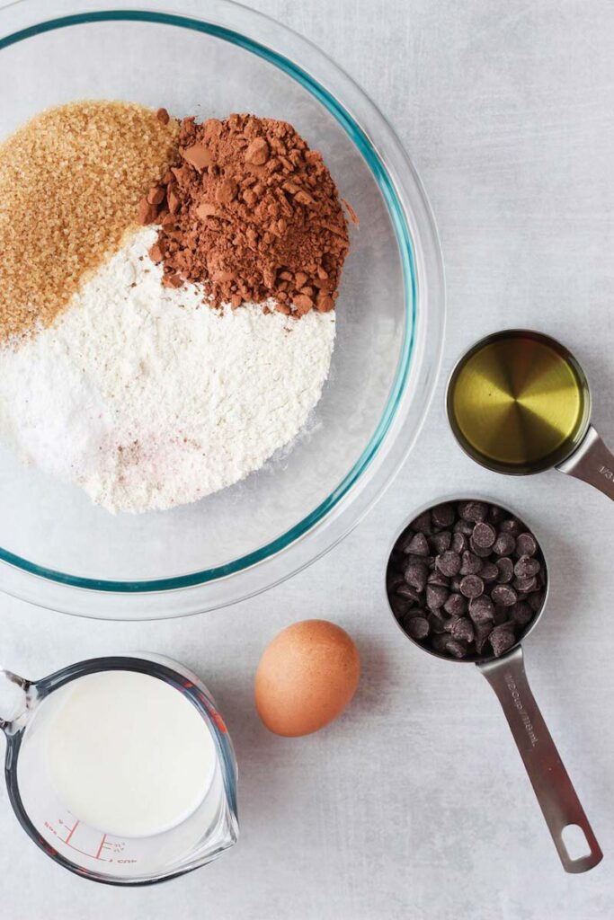 Ingredients needed for Double Chocolate Chip Muffins.