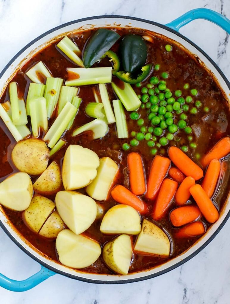 veggies added into the beef stew