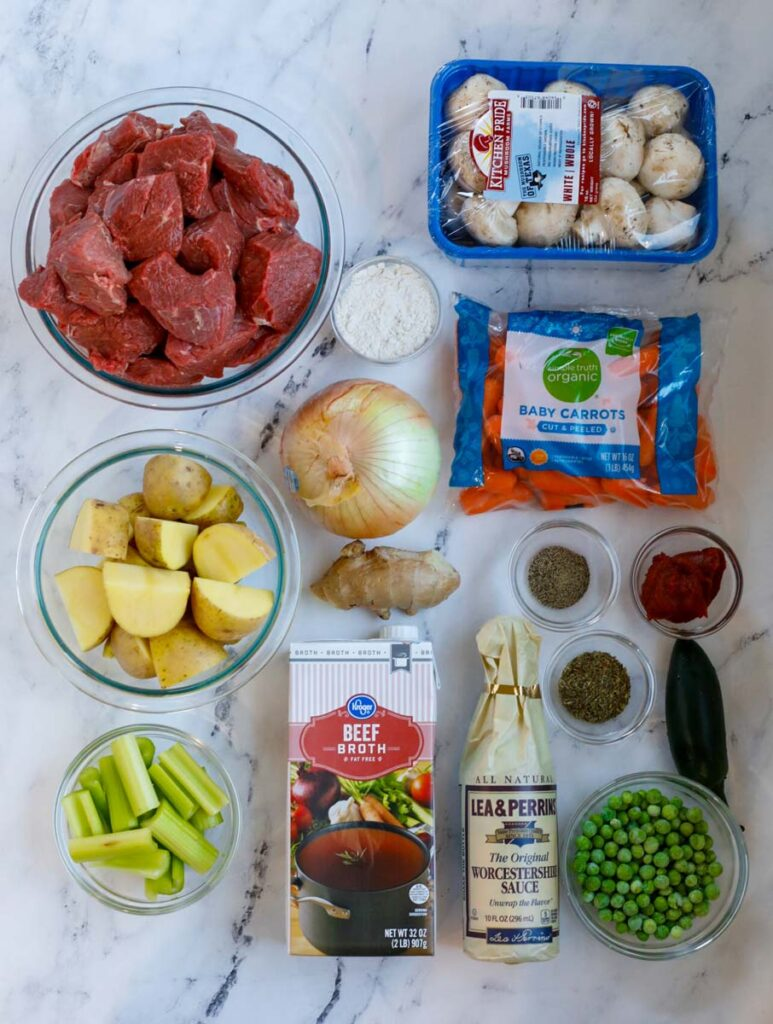 Top down view of ingredients for beef stew.