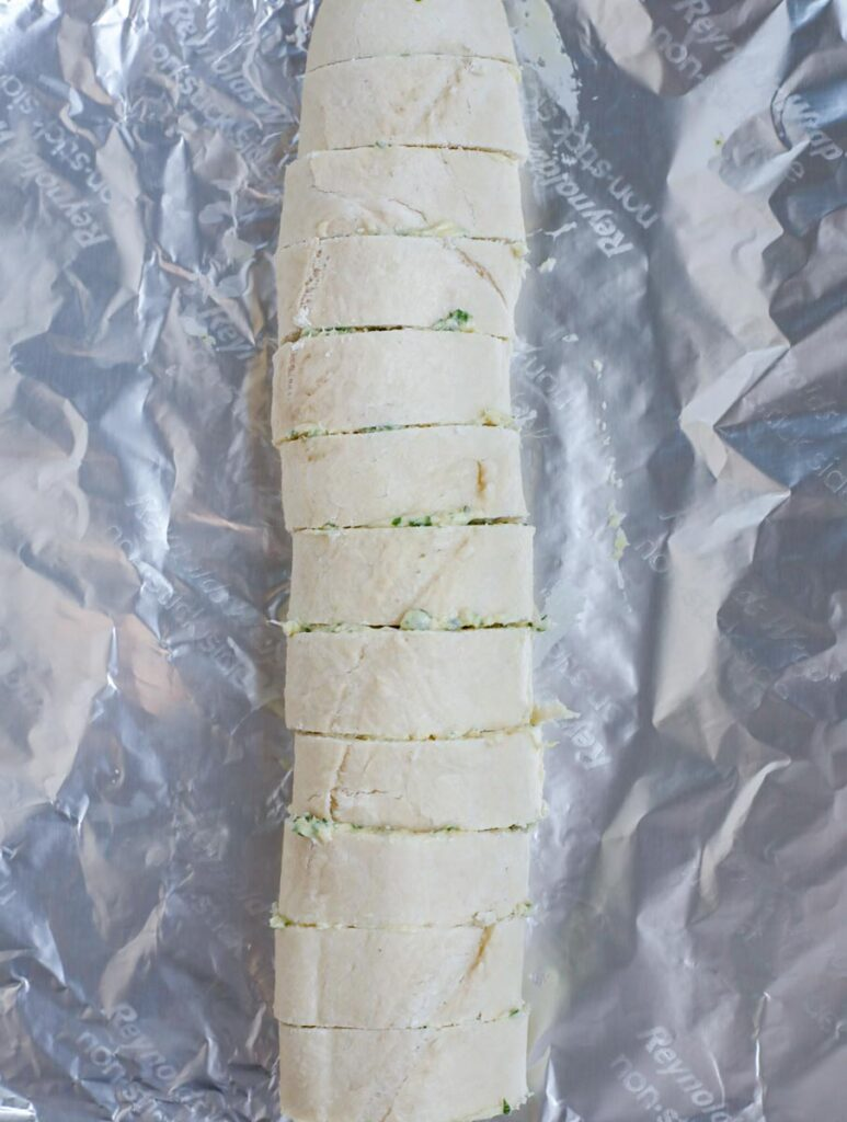 baguette bread assembled to bake