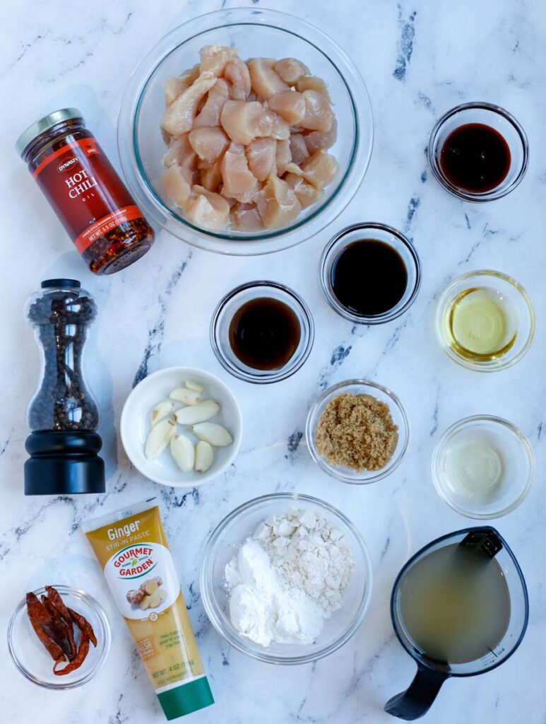 Overhead image of ingredients needed to make general tso chicken.