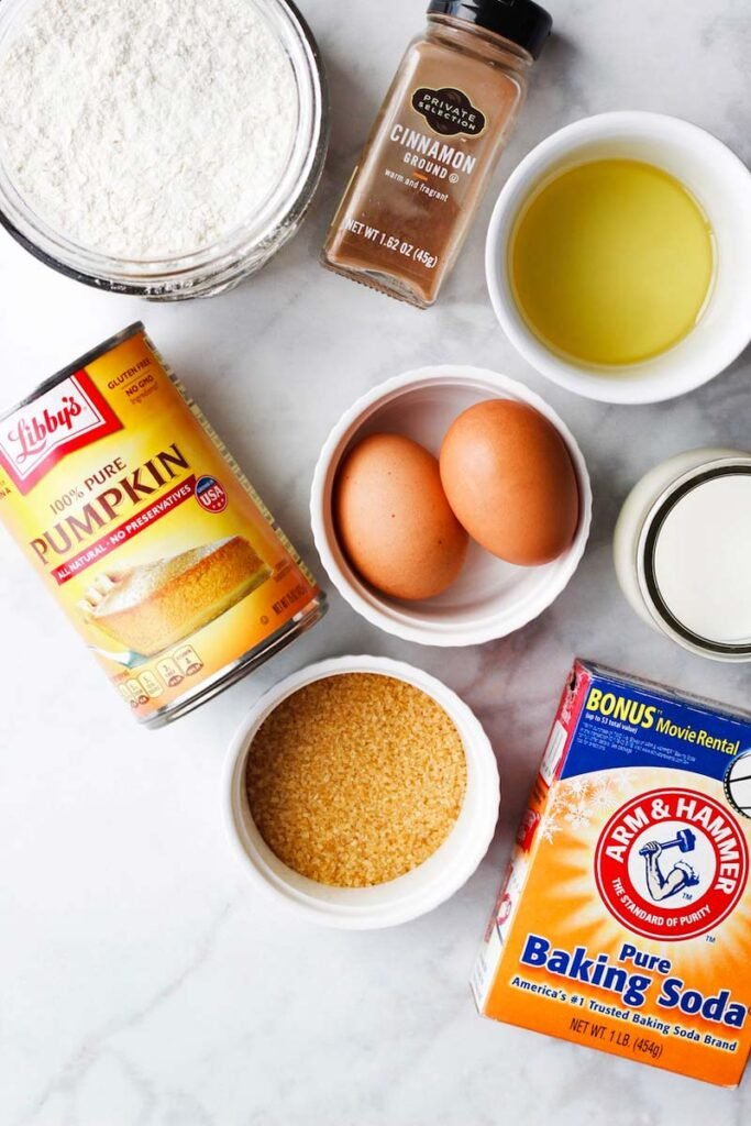 Overhead shot of ingredients needed for this Easy Pumpkin Bread recipe.