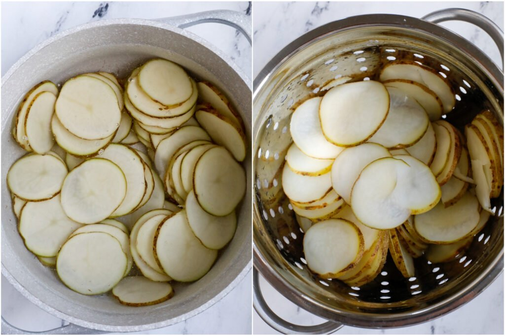 top down shot of potato slices in a colander.