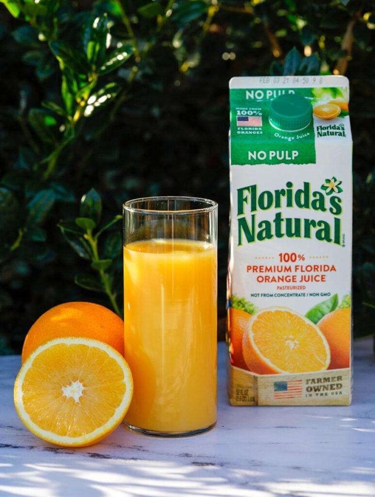 florida naturals orange juice in a cup