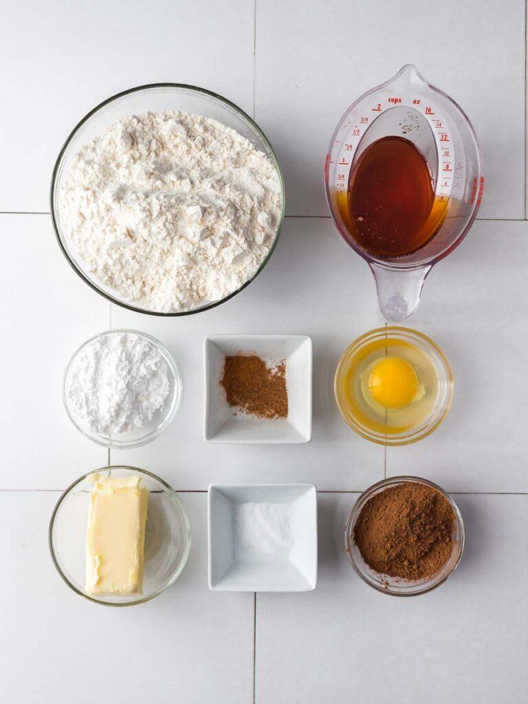 Ingredients for christmas tree cookies.