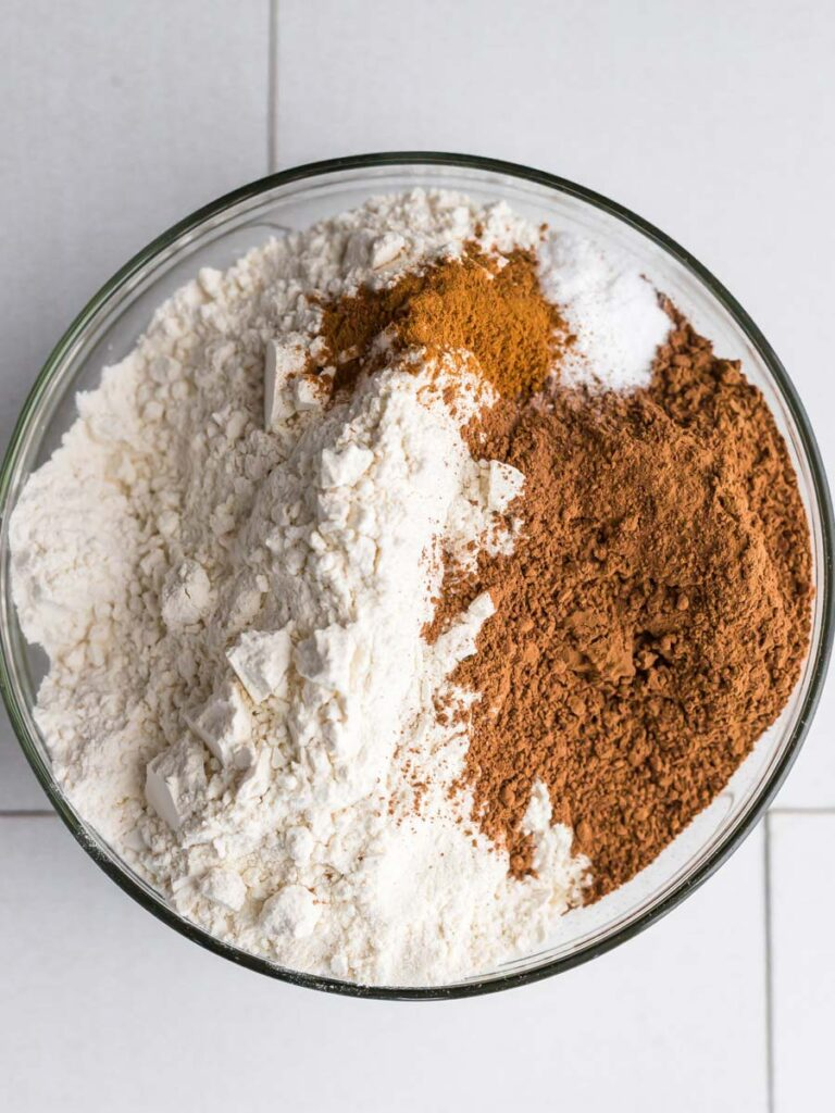 Top done shot of dry ingredients in a bowl.