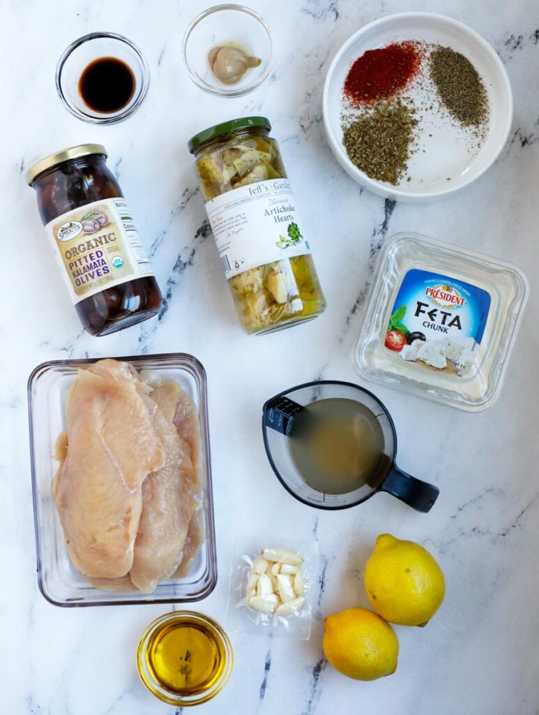 top down shot of the Greek chicken ingredients