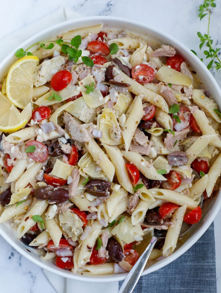 Top down shot of tuna pasta salad recipe in a bowl.