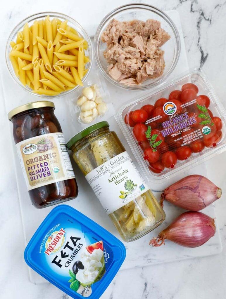 Overhead shot of ingredients for pasta salad.