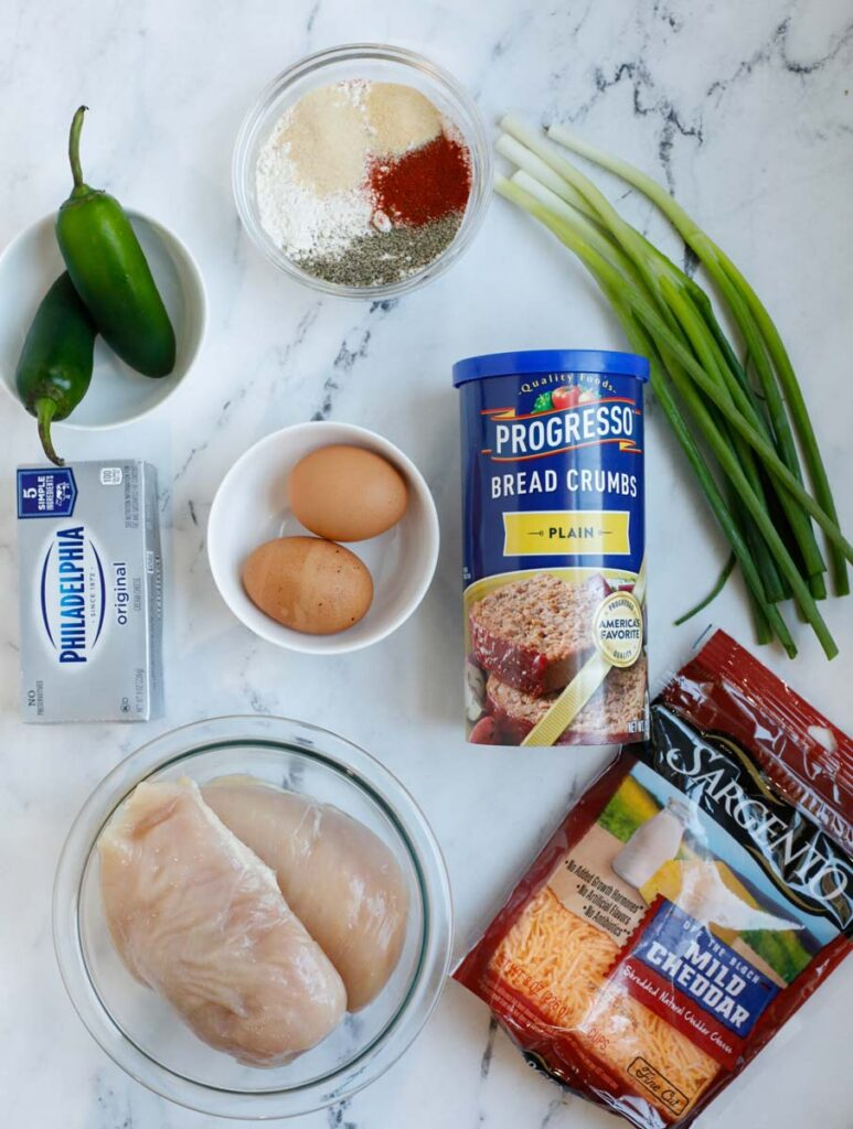 Top down view of ingredients for jalapeno popper chicken.
