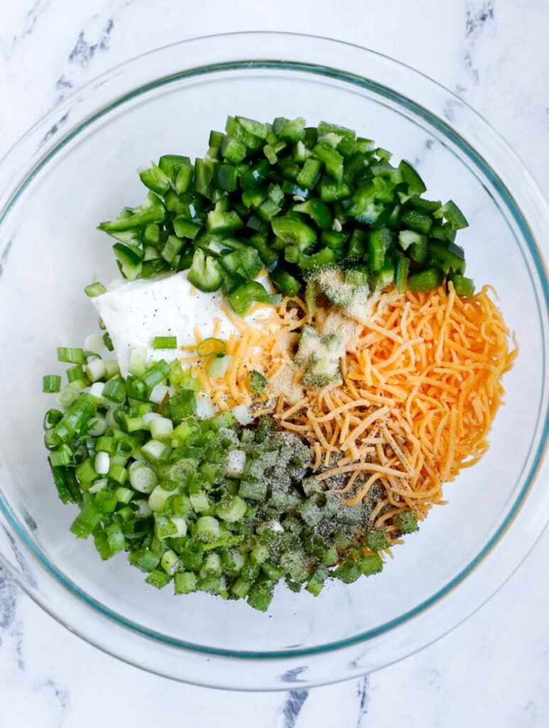 Stuffing ingredients in a bowl.