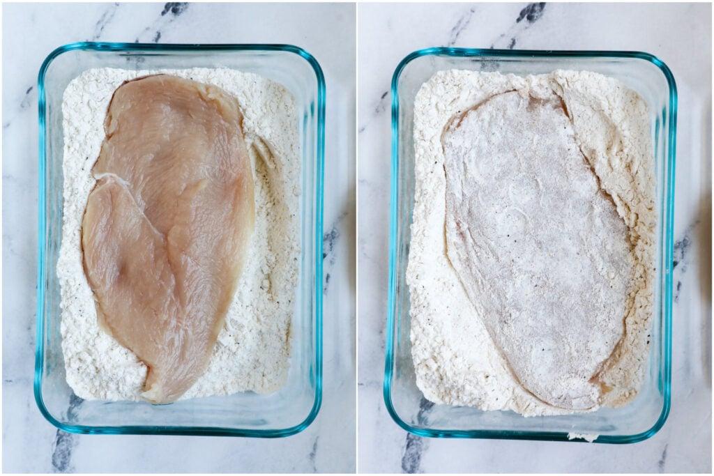 Top down shot of chicken in flour.