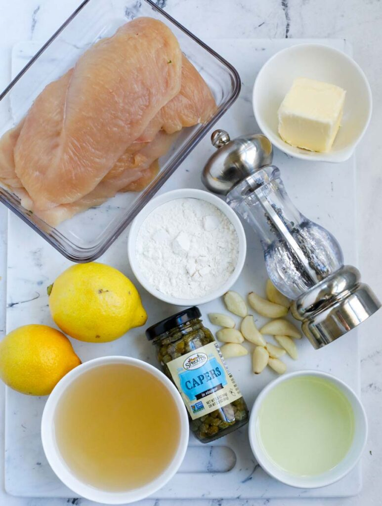 Ingredients for lemon chicken piccata.