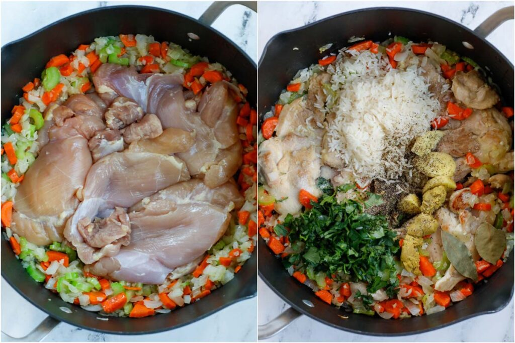 Set of two photos of sauteing chicken thighs with vegetables and then adding in seasoning and rice.
