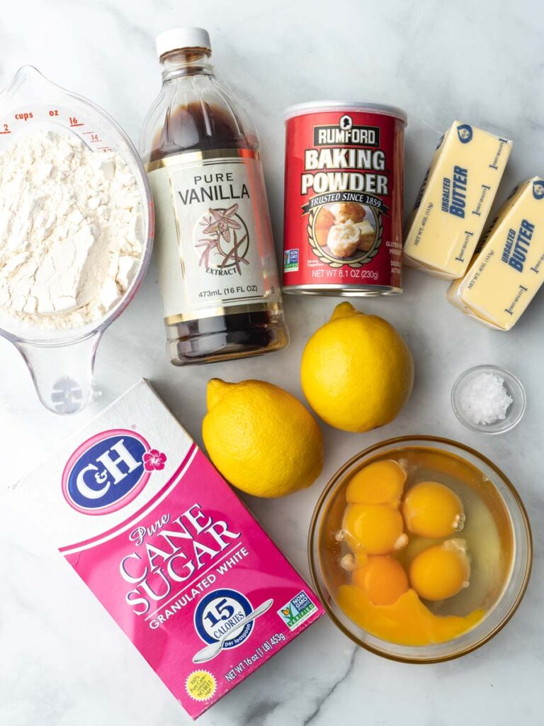 Overhead image of ingredients for lemon Madeleines.