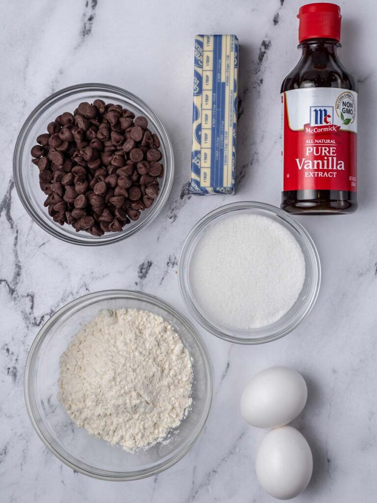 Overhead image of ingredients needed to make a lava cake.