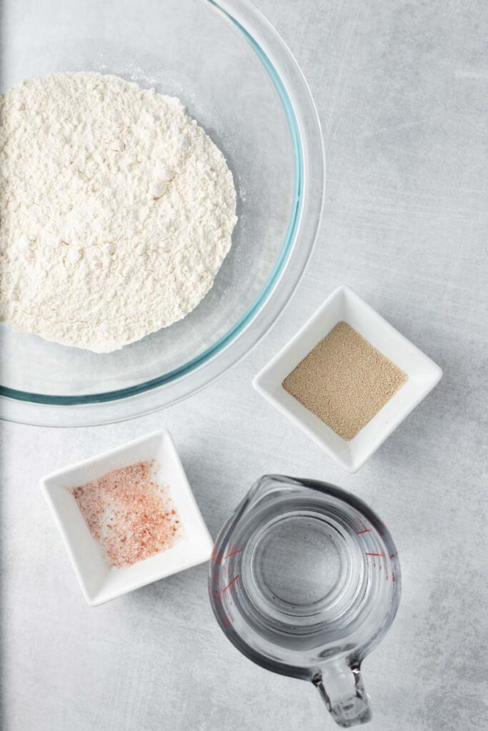 Overhead image of ingredients for no knead bread.